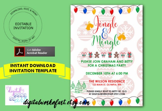 Jingle And Mingle Christmas Party Invitation Template Home Etsy