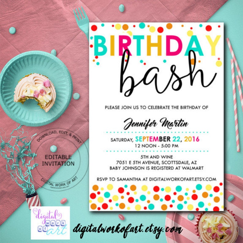 Birthday Bash Party Invitation Template