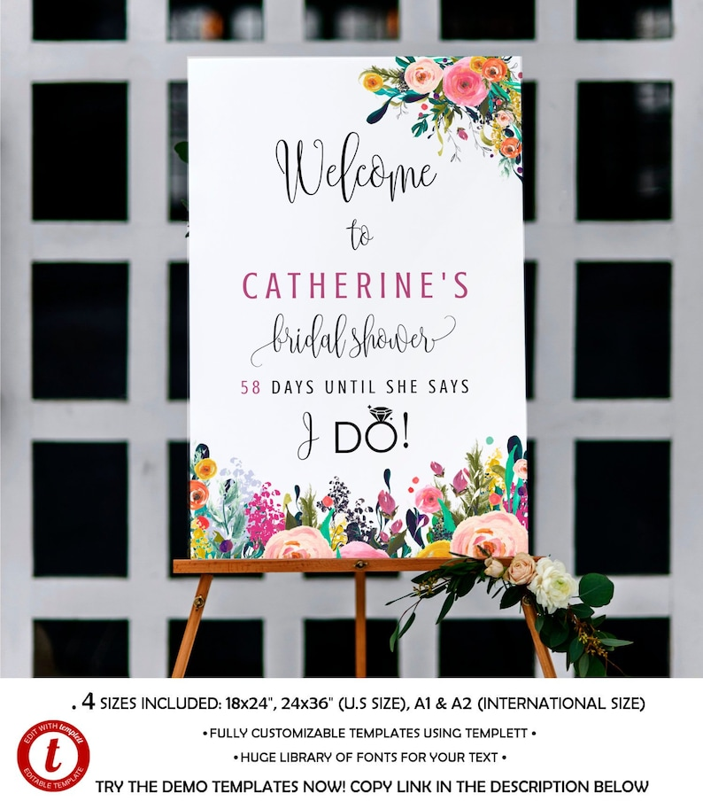 Fully Editable Welcome Bridal Shower Sign DIY Sign Template image 0