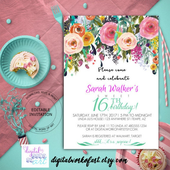 16th birthday party invitation template diy birthday filmwisefo