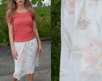 Pastel Floral Knee Length Skirt with Pockets