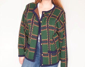 TARTAN Green Button Down Cardigan Sweater with Shoulder Pads