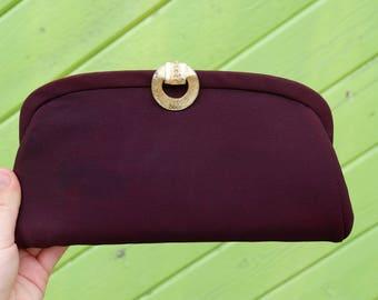 Deep Purple Fashion Clutch with Wrist Chain / Evening Bag / Eggplant Purple