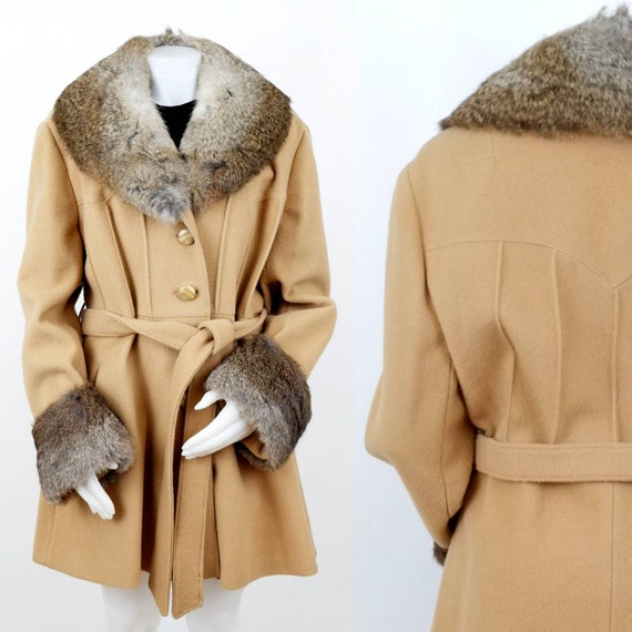 Sandy Brown Winter Trench Coat with Rabbit Fur Col