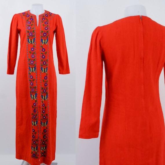 Orange Embroidered Kaftan Style Maxi Dress