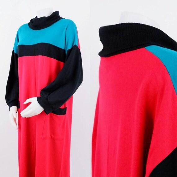 Oversized Colorblock Sweater Dress