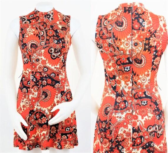 Mod 60s/70s Psychedelic Paisley Print Mini Dress
