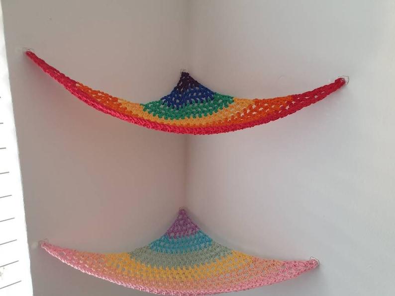 Rainbow Toy hammock soft toy storage nursery decor bedroom image 0