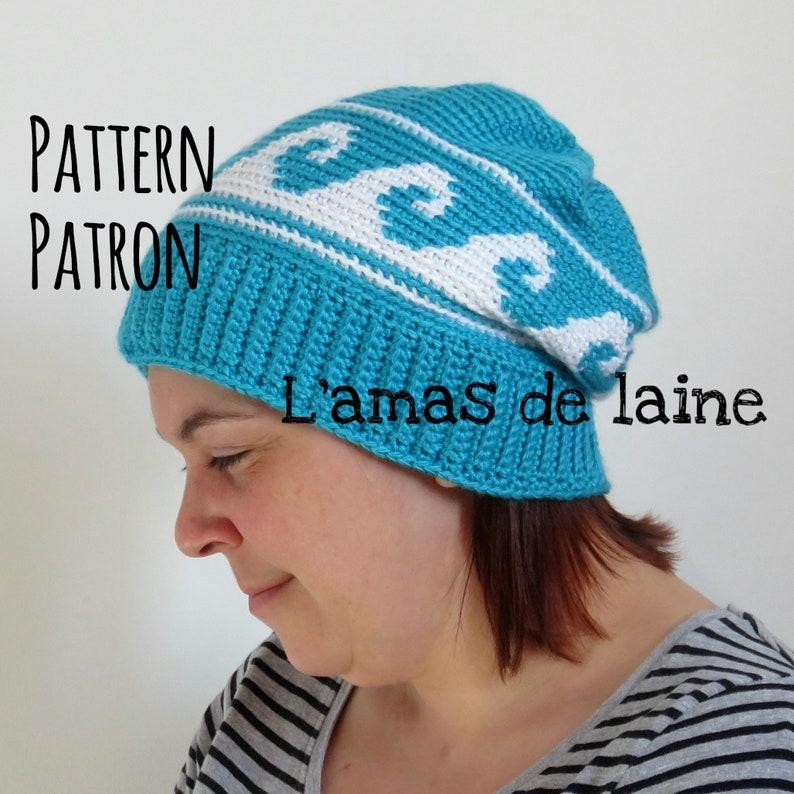 Océanie hat crochet pattern  beanie slouch slouchy head image 0