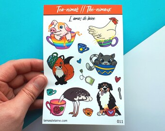 Tea-nimals Planner stickers - Kiss cut Sticker sheet - tea, fox, dog, ostrich, pig, cat, chicken, cup, cute, flower, heart, animals - 011
