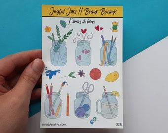 Joyful Jars Planner stickers - Kiss cut Sticker sheet - Plants, paint brush, crochet, knitting, lemonade, love, flower, bullet journal - 025