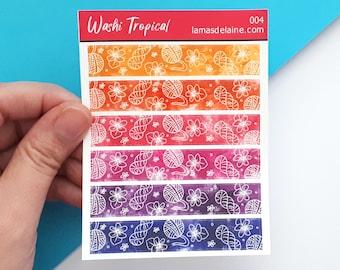 Washi Tropical Planner stickers - Kiss cut Sticker sheet - Fake washi tape, hook, yarn, skein, crochet, hank, cute, bujo, flowers - W004