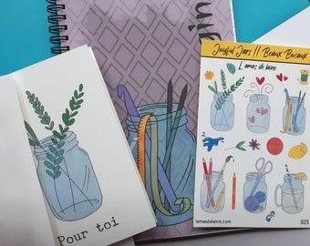 Crafty Jars Stationery Bundle - Jar themed Notebook, Sticker sheet, and greeting card - Art, crafts, plants, knitting, crochet, painting