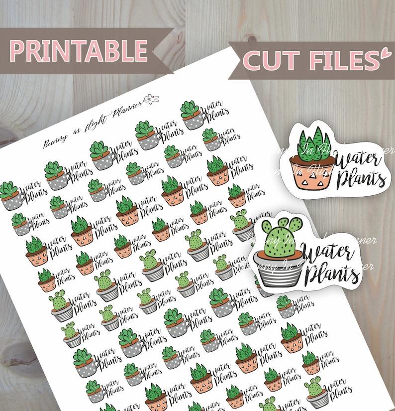 Water Plants StickersHappy PlannerPrintable StickersPlanner image 0