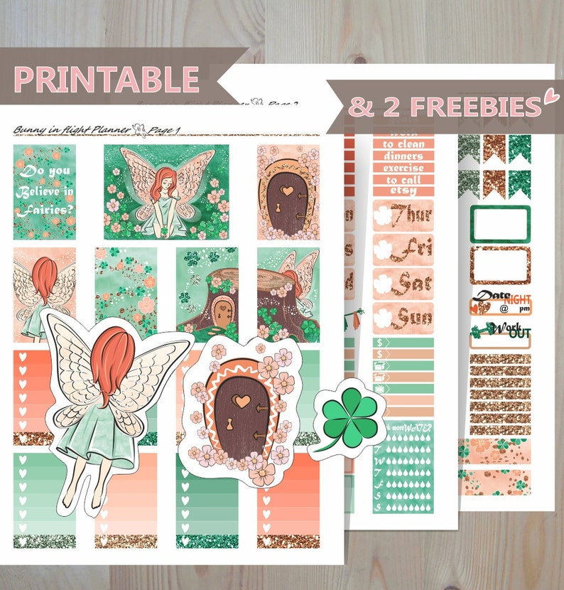 c28b881498307 Fairy Themed Weekly Planner Stickers- Fairy Tale Printable Happy Planner-  Shamrock Flowers Trefoil Weekly Sticker kit- Magic Inspirational