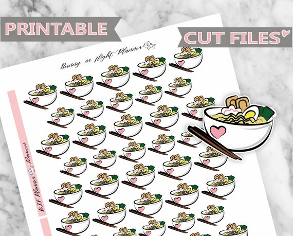 Ramen Noodle Printable Stickers Daily Stickers Deco Sticker Etsy