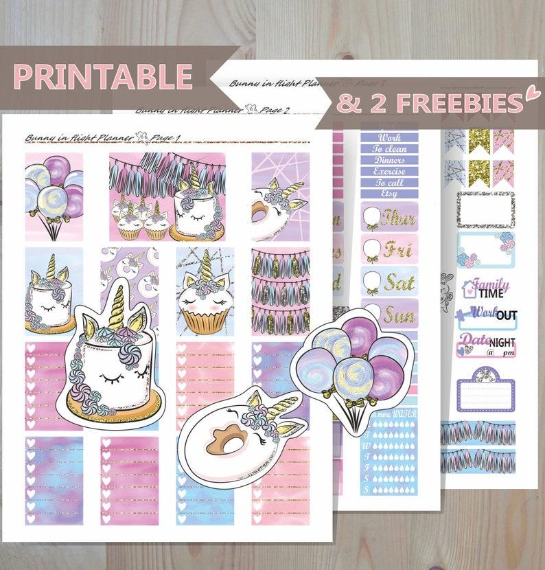 UNICORN PARTY Printable Happy Planner Sticker Kit,Birthday Planner  Kit,Celebrate Stickers,Fall Sticker kit,Unicorn Stickers,Unicorn Lovers