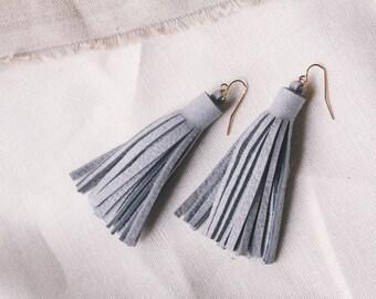 Light Grey Leather Tassel Earrings