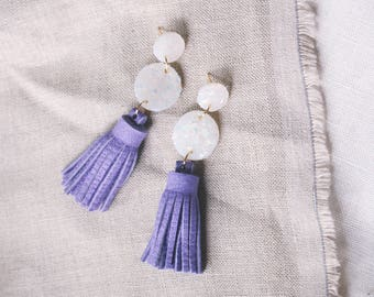 Opal Clay & Violet Leather Tiered Circle Tassel Earrings