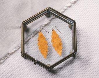 Mustard Yellow Leather Feather Earrings