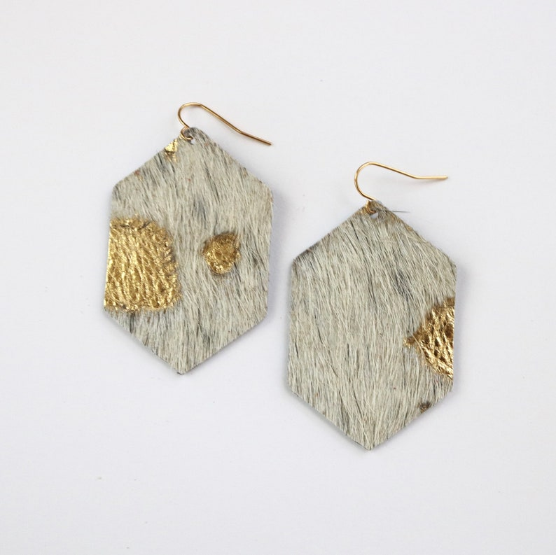 50d41266196d Leather Cowhide Hexagon Earrings White   Gold Speckle