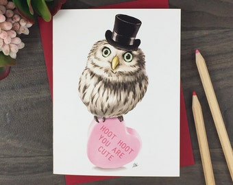 Owl Blank Greeting Card | Cute Anniversary Card | Card For Boy Friend | Card For Girl Friend | Card For Husband | Card For Wife | I Love You