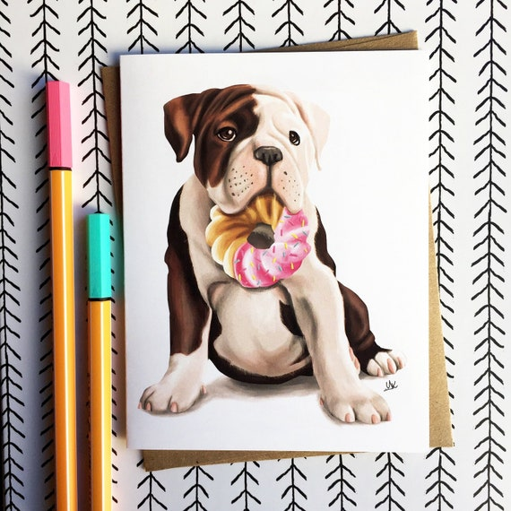 English Bulldog Card Gift Donut