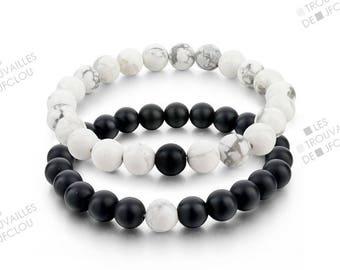 Black and white duo Howlite beaded bracelet