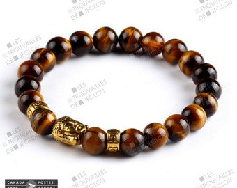 Tiger eye and Golden Buddha head bracelet