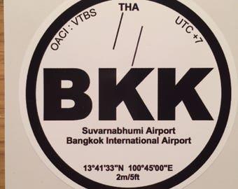 Sticker decal Vinyl BKK Bangkok airplane Aviation Thailand airport car pilot pilot crew airport luggage travel tourism hostess