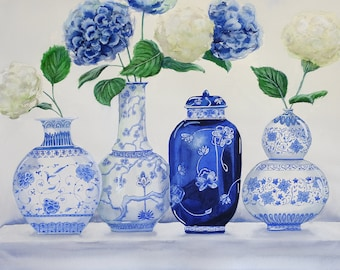 'Sky's Blue and White Vases'