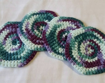 Set of 4 100% Cotton Hand Crocheted Coasters