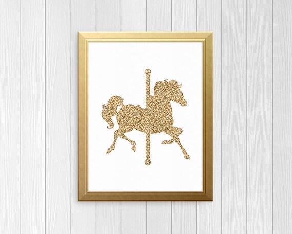 Glitter Oro carrusel caballo arte de la pared para imprimir