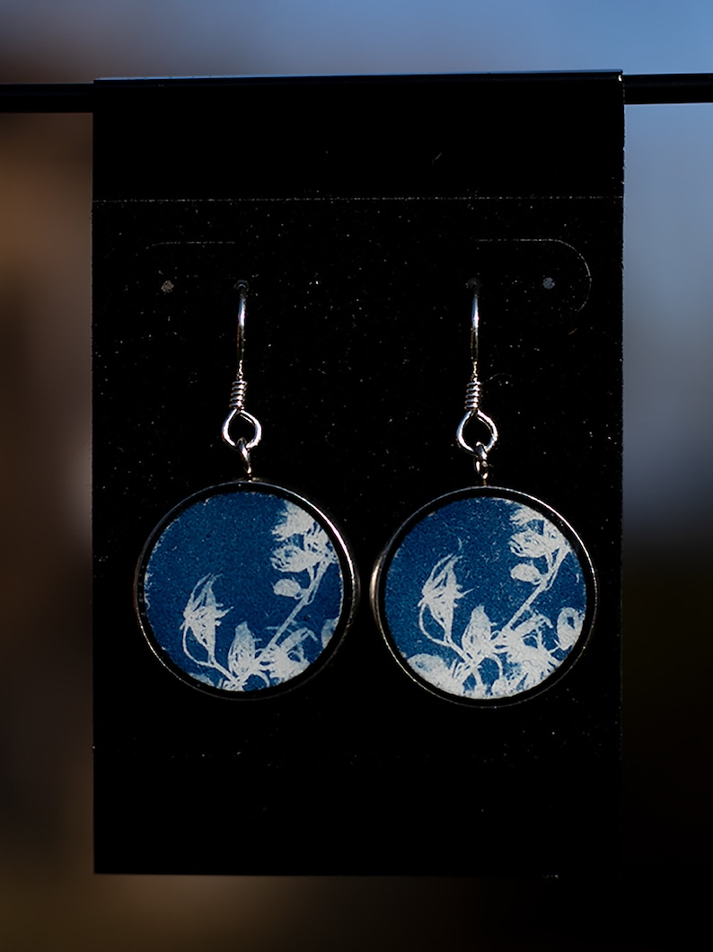 Solid Sterling Silver Floral Pendant Prussian Blue Cyanotype Earrings Silhouette Unique Gift Alternative Process Photography Handmade
