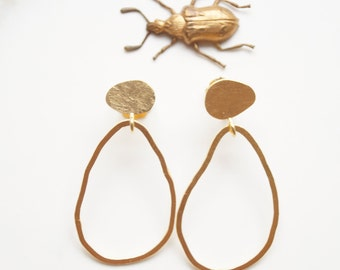 forged gold plated large earrings