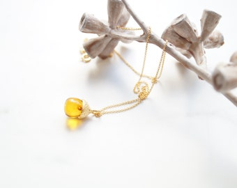 golden amber acorn necklace