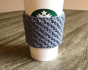 Crochet Travel Cup Coffee Cozy - Drink Sleeve - Coffee Collar - 100% Cotton (Steel Gray)