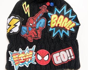 984c50b5b4f Beanie Hat Boys Hat Pom Pom Beanie Action Hero Super Hero