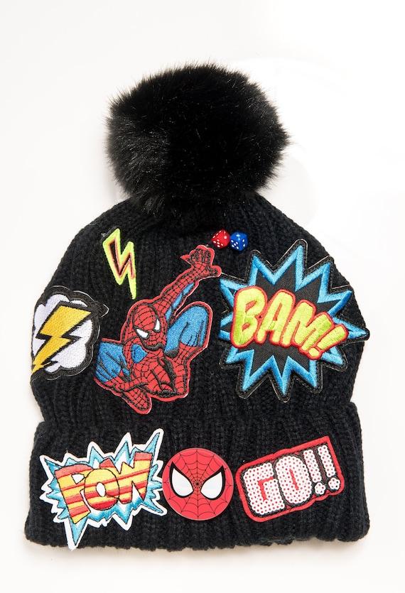 eb83e3ec757 Black Beanie Hat Boys Beanie Hat Pom Pom Beanie Spider Man