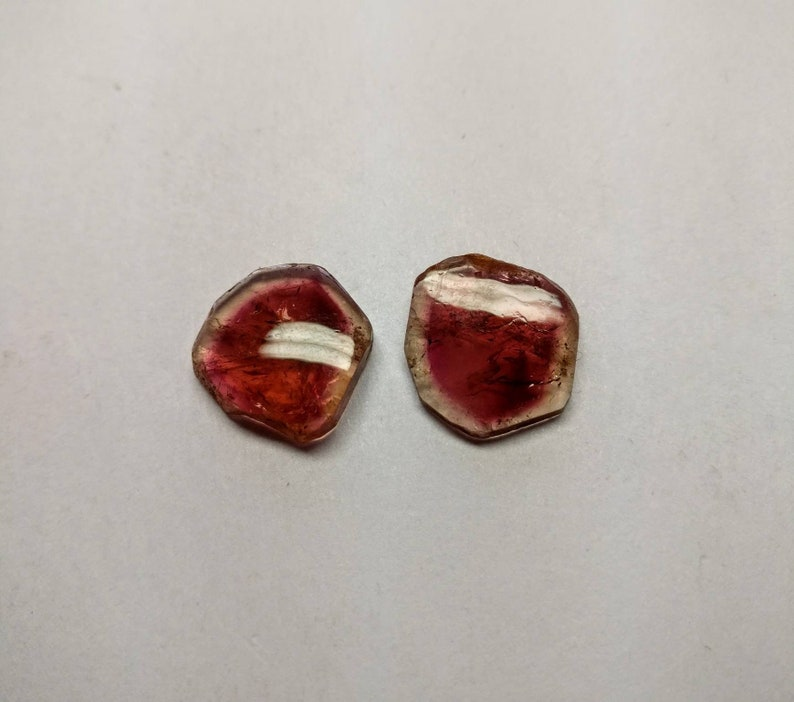 Watermellon tourmaline  different color polished slices pair weight 13.53 cts