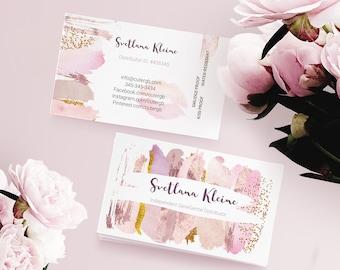 Business cards etsy lipsense business card blush rose gold watercolor senegence business for make up artist editable pdf instant download diy colourmoves