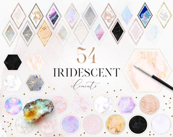 54 Iridescent Decorative Elements Geometric Clip Art Marble Clipart Rhombuses Hexagons Circles Modern Clipart Commercial Use Ok