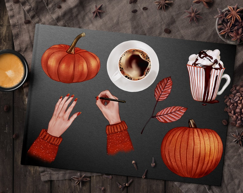 Coffee PNG Commercial Use OK for Stickers Pumpkins Illustration Autumn Leaves Fall Clip Art Planner Girl Autumn Girl Clipart