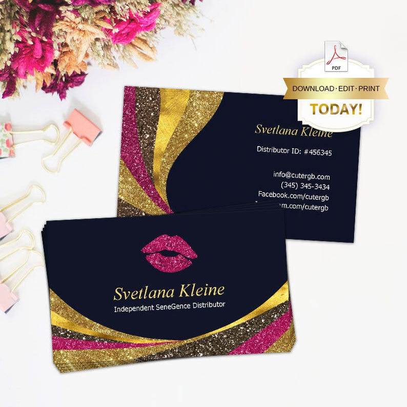 LipSense Business Cards, Editable PDF, Glitters Lipsense Card, for  SeneGence / Lipsense Distributor, LipSense Business, Instant Download