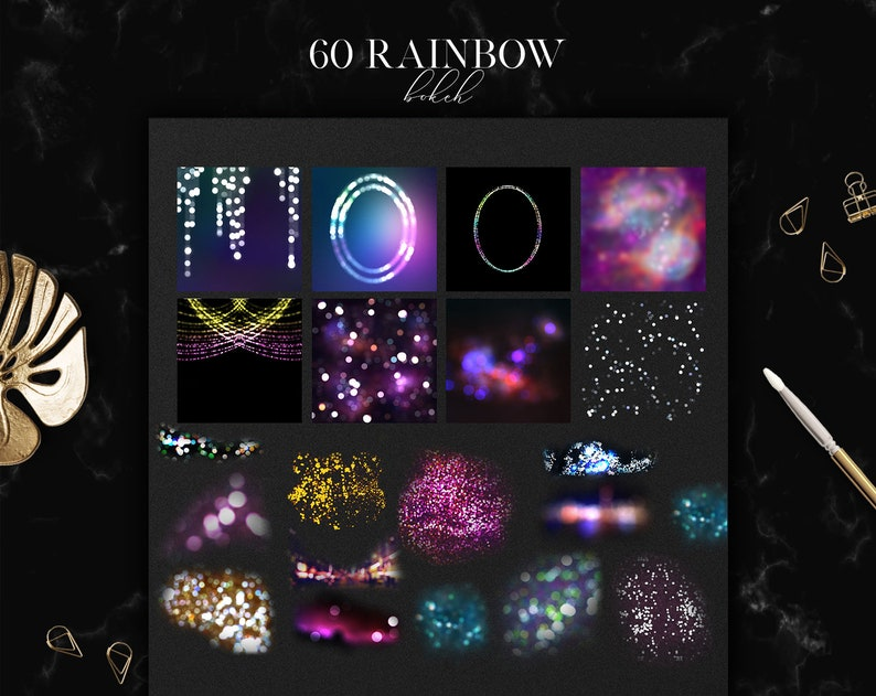 60 Rainbow Bokeh Overlays, Photoshop Overlay, Light Effects, PNG and JPG  files, Photography Overlays, Magic Overlays, Digital Files