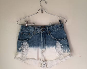 Vintage Express High Waisted Dip Dyed Shorts