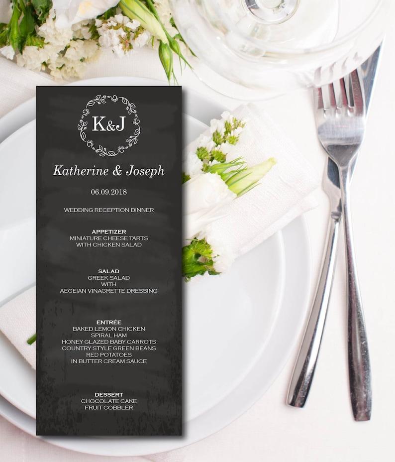 Wedding Menu Chalkboard Wreath Menu Card Template Rustic image 0