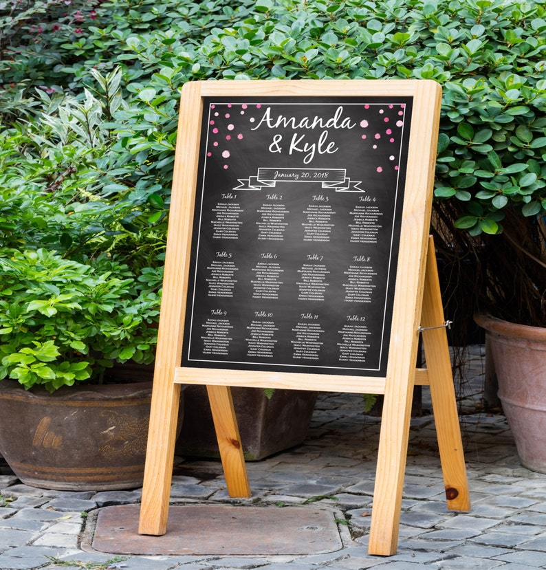 Wedding Seating Chart Template Chalkboard Rustic Seating image 0