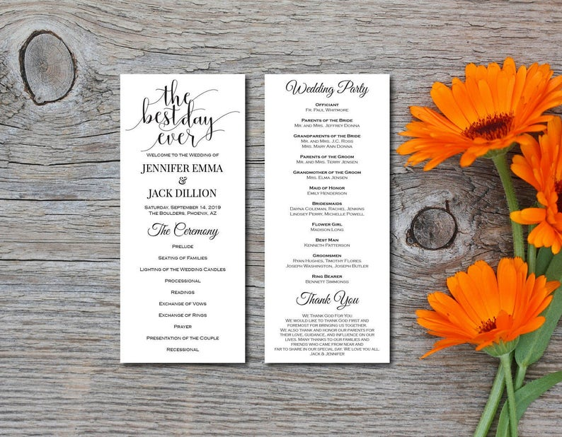 Wedding Ceremony The Best Day Ever EDITABLE PDF Instant Download E126A Wedding Program Kraft Program Digital Template DIY Printable