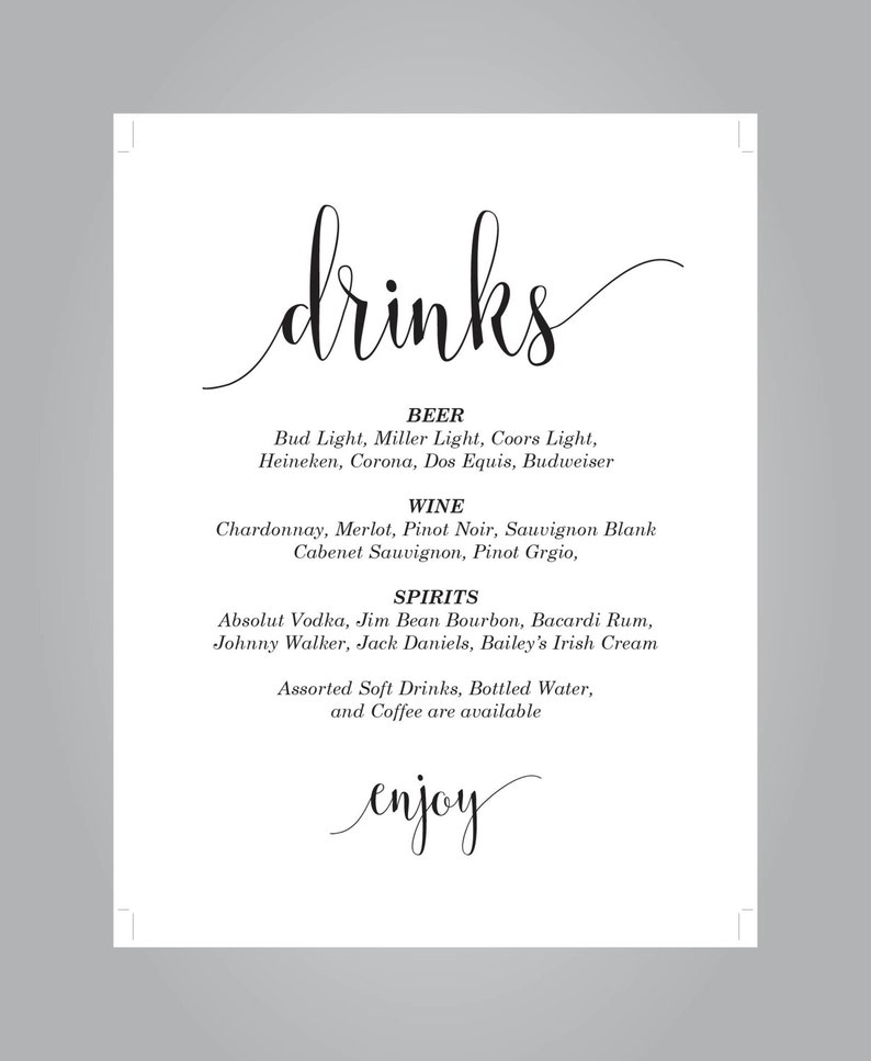 Instant Download E69B Wedding Drinks Sign Kraft Paper Reception Drinks Sign DIY Editable PDF Cards and Gifts Rustic Wedding